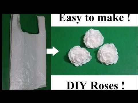How to Recycle basic Plastic carry Bags to make Roses flower ! | प्लास्टिक की थैली से बनाये फूल