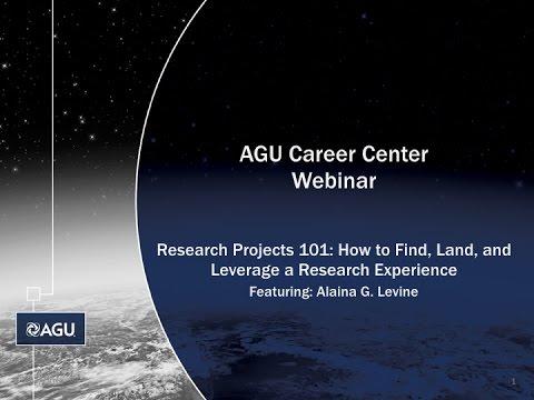 AGU Career Center Webinar: Research Projects 101