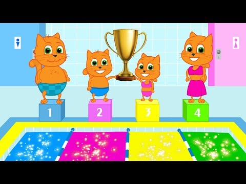 Cats Family - Cartoon for Kids | New Episode #31 | Colorful Swimming Pool
