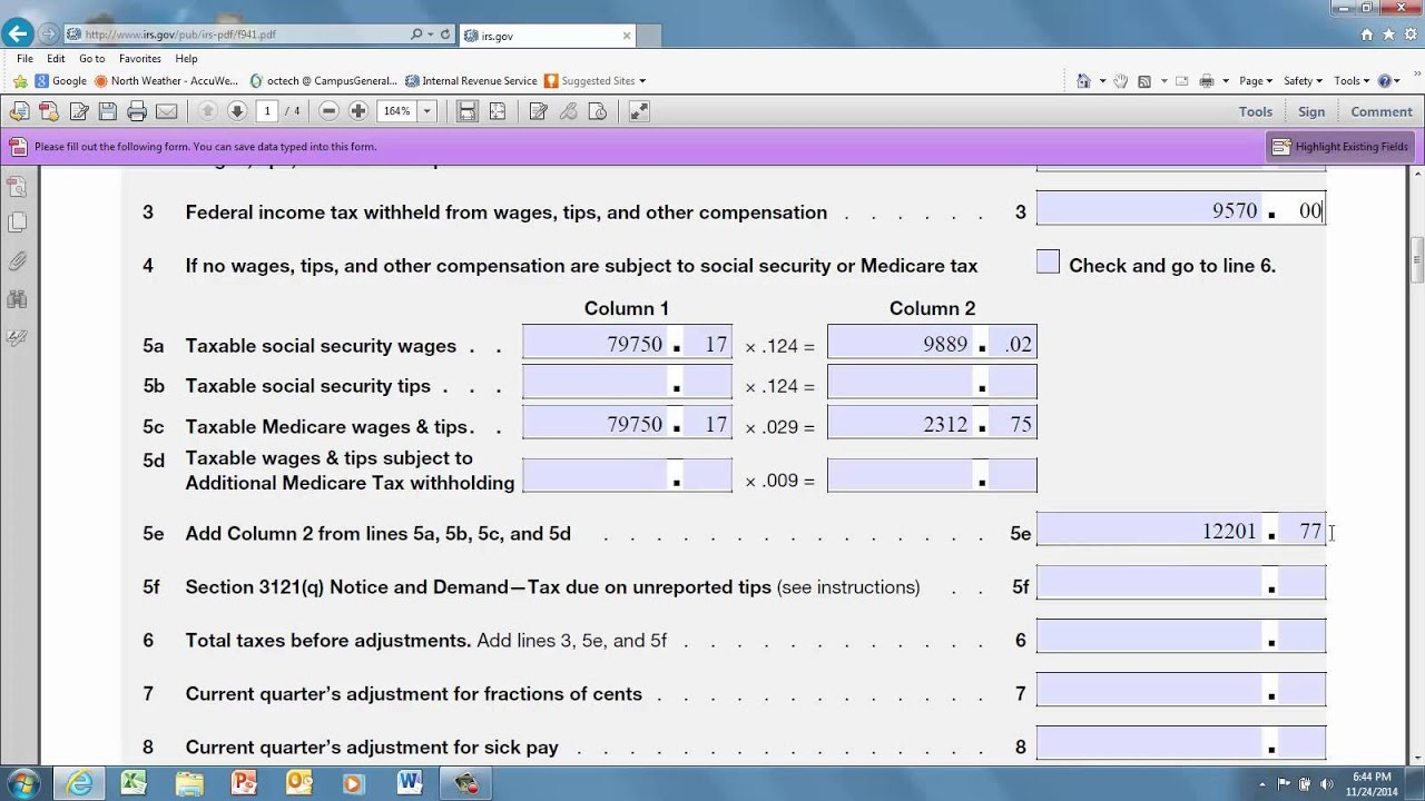Filling out form 941 - YouTube