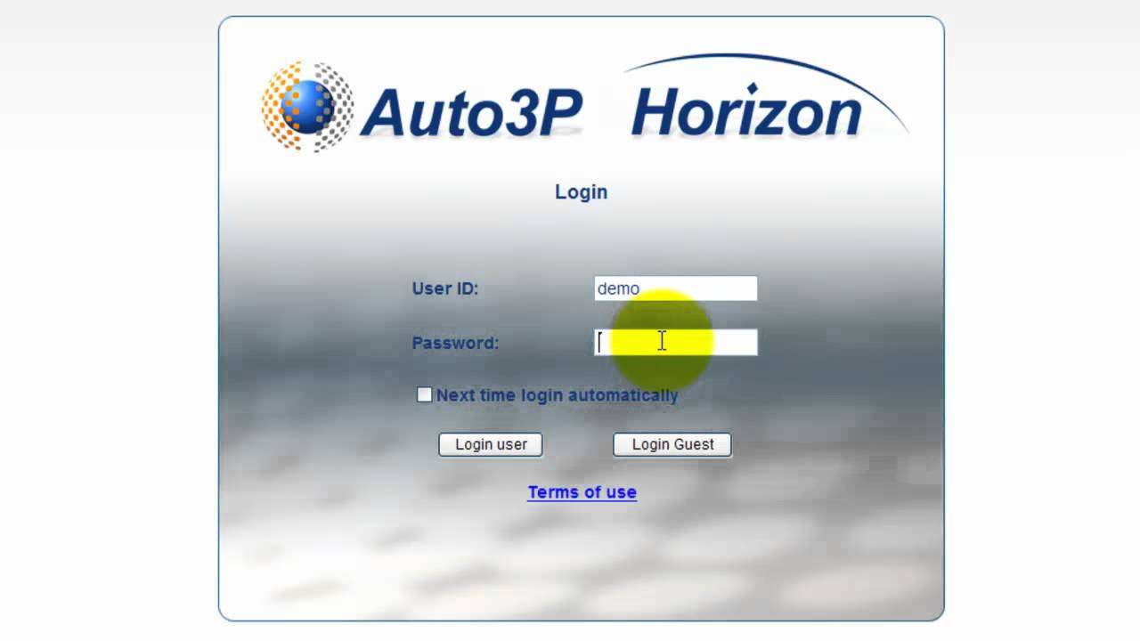 Auto3P Horizon - Login - Automotive Software