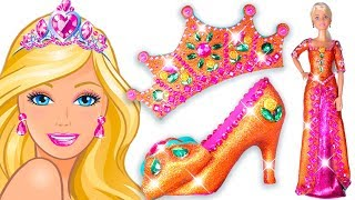 💖 Play Doh Making Colorful Sparkle Disney Princess Barbie Dress 👗 High Heels Crown Castle Toys