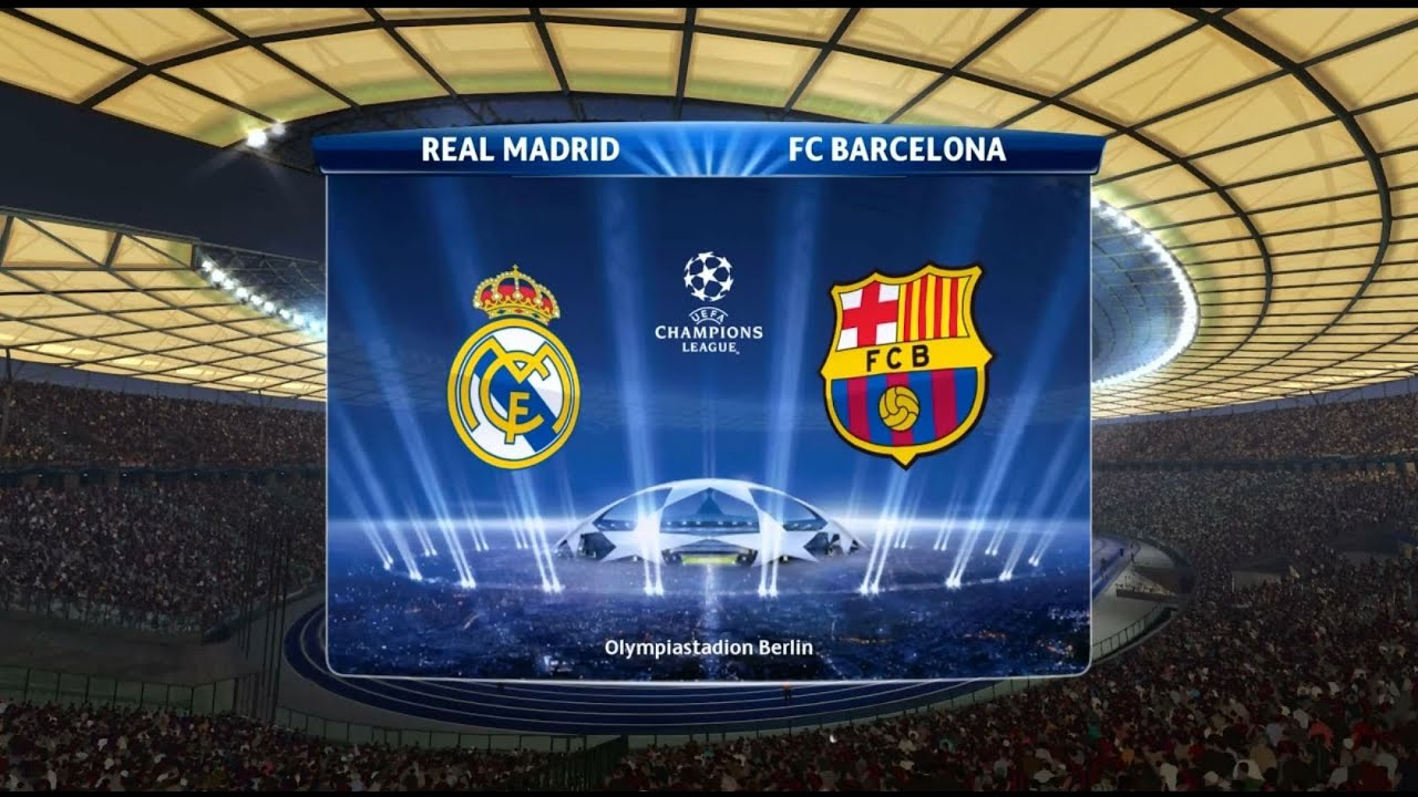 pes 15 uefa champions league final real madrid vs barcelona gameplay youtube