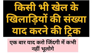 GK tricks. No. Of players in any game learning trick . Kisi bhi Khel Mai kitne players hote hai