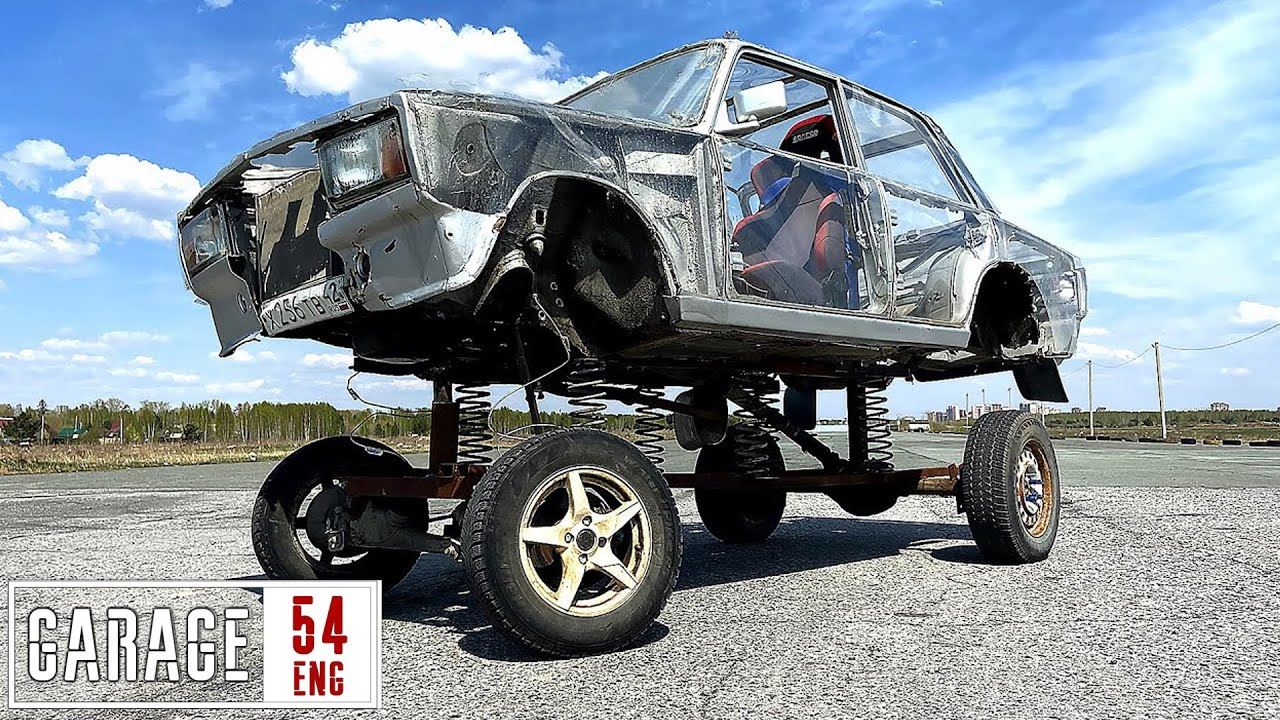 Driving a Lada with body on springs