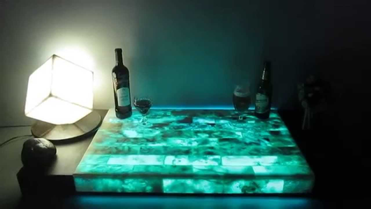 Onyx Light Led Illuminated With Glowing In The Dark Effects Countertop Worktop Bar Youtube