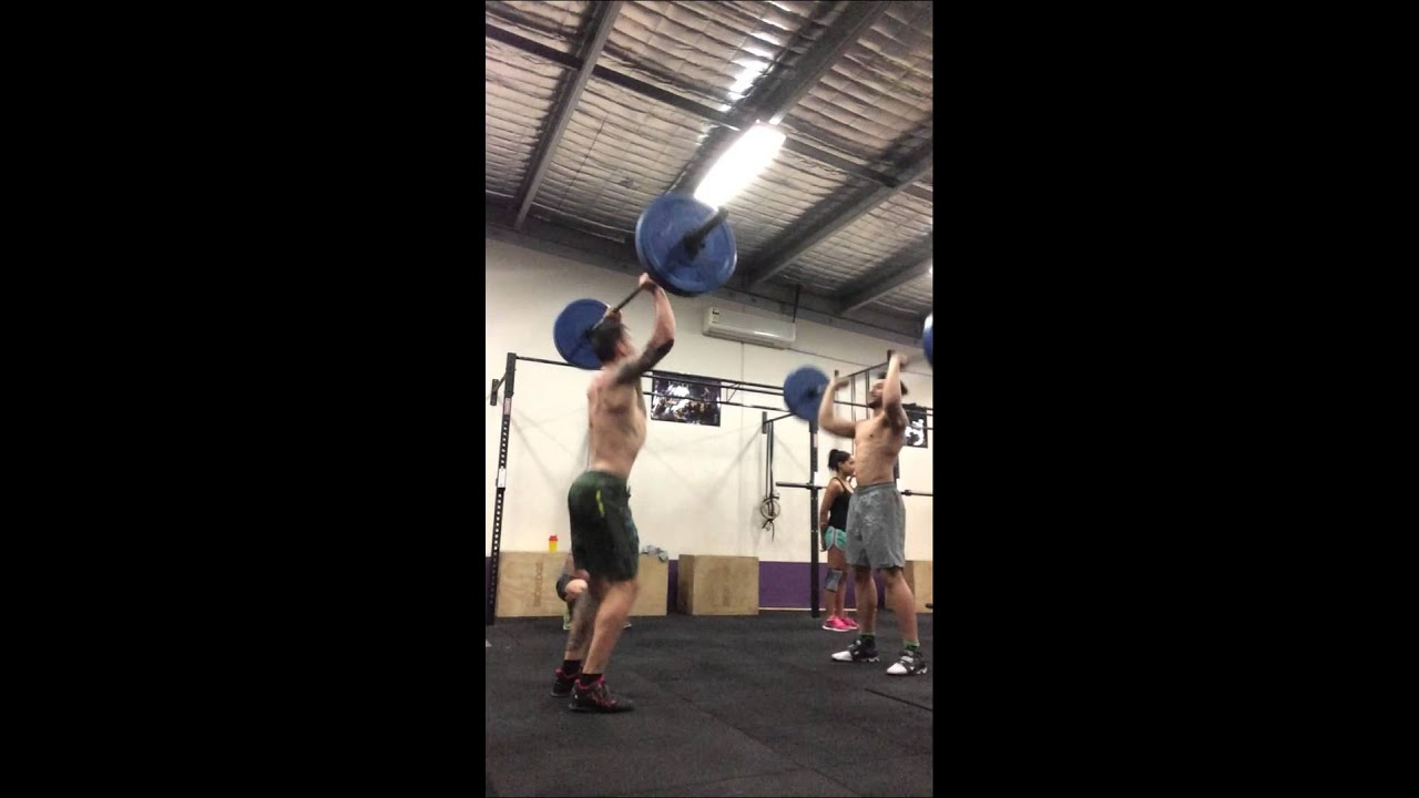 At CrossFit Lower Mountains Grace: 30 clean and jerks for time at 60kg.  Evrett and Goody face off.