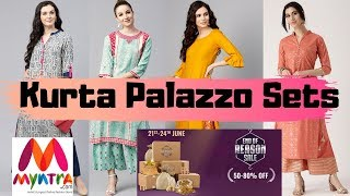Myntra Kurta Sets Haul | End Of Reason Sale 2019 | 6 Kurta Palazzo Sets | Starting 650 |  Under 1200