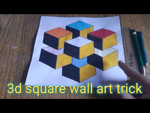 square 3d art tutorial easy step by step ||wall painting trick on paper #3dart