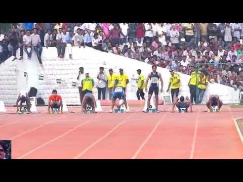 MEN'S 100M FINAL .  NATIONAL GAMES-2015