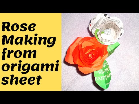 How to make a Rose Paper Flower   Easy origami Flowers for beginners   DIY-Paper Crafts