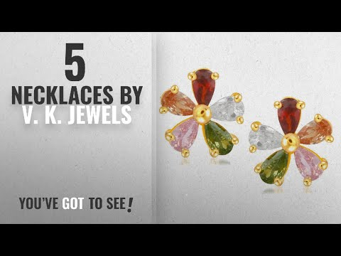 Top 10 V. K. Jewels Necklaces [2018]: V. K. Jewels Flower Multicolor Gold And Rhodium Plated Cz