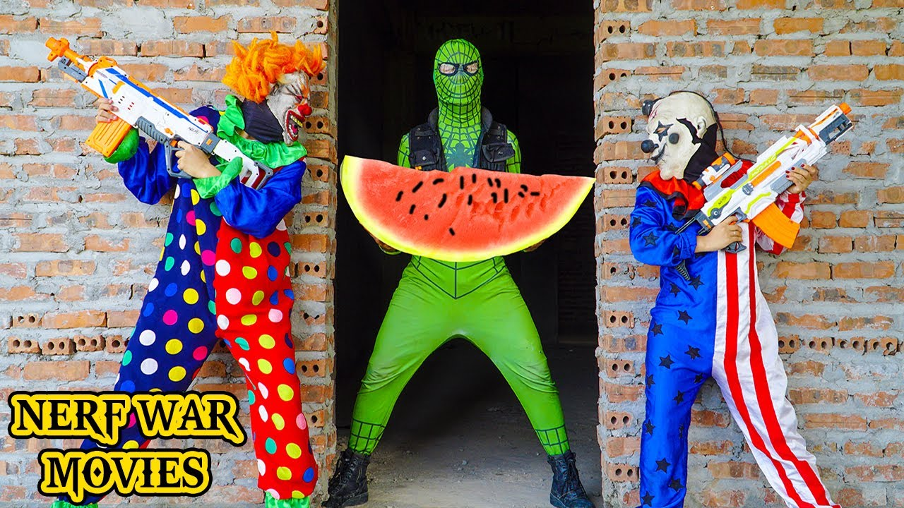 Nerf War Movies: Spider X Warriors Nerf Guns Fight Crime Group Two Watermelon Thieves