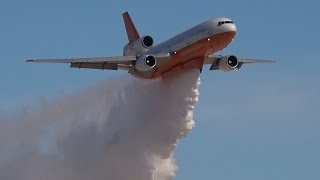 4K | Spectacular Firefighting Demo DC 10 Air Tanker at Aviation Nation 2016
