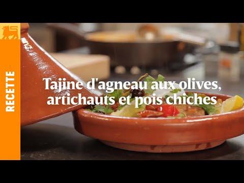 Tajine d'agneau aux olives, artichauts et pois chiches