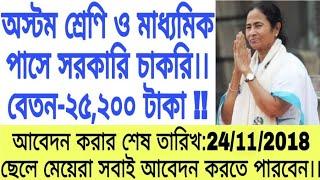 অস্টম শ্রেণি ও মাধ্যমিক পাসে সরকারি চাকরিতে নিয়োগ।।(West Bengal government job)।।
