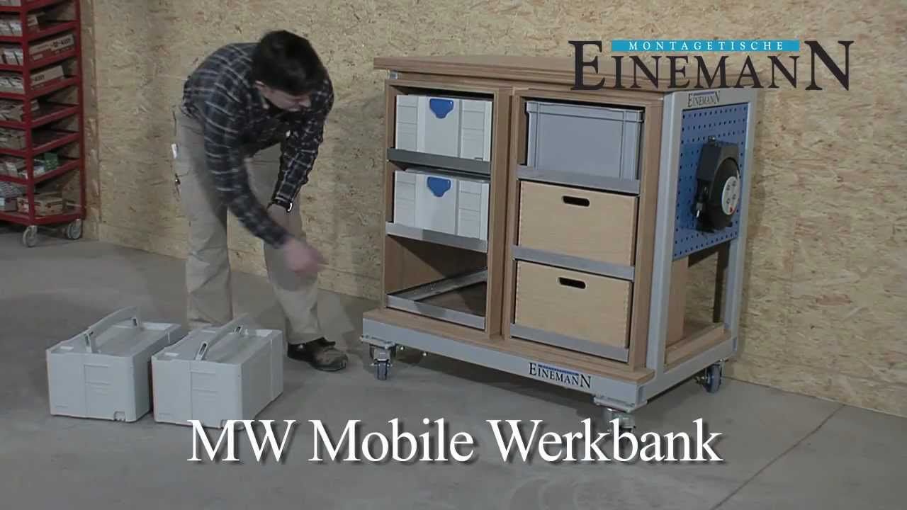 einemann montagetische mw mobile werkbank youtube. Black Bedroom Furniture Sets. Home Design Ideas