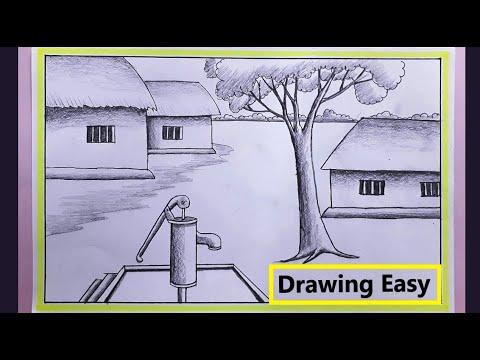 How To Draw A Village Scenery | Easy Scenery Drawing (Pencil Art)