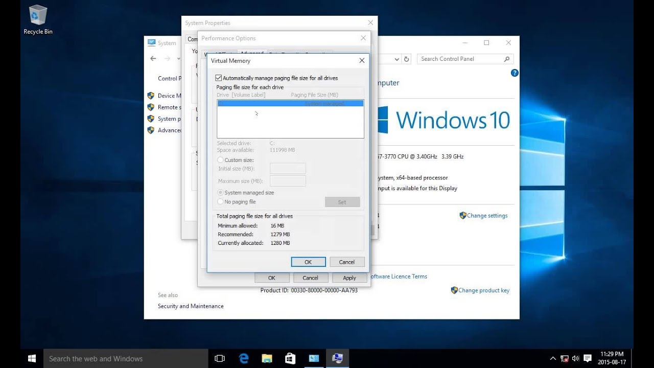 windows 10 virtual memory
