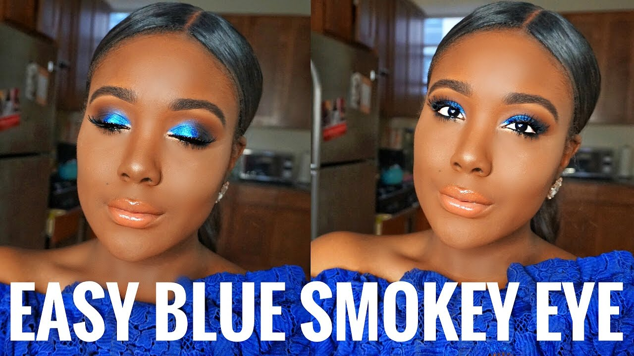 Get Ready With Me Blue Smokey Eyes Makeup For Black Women