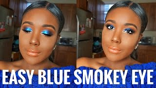 GET READY WITH ME: BLUE SMOKEY EYES Makeup For Black Women 2017