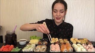 MUKBANG | 100 суши/роллов съем? | 100 sushi rolls | не АСМР