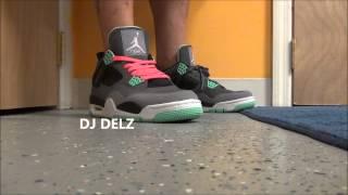 PINK Lace Swap On Air Jordan Green Glow 4 IV Retro Sneaker With @DjDelz Dj Delz