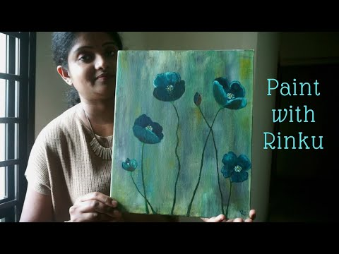 Beautiful floral acrylic painting Art (Malayalam ) Easy tutorial thumbnail