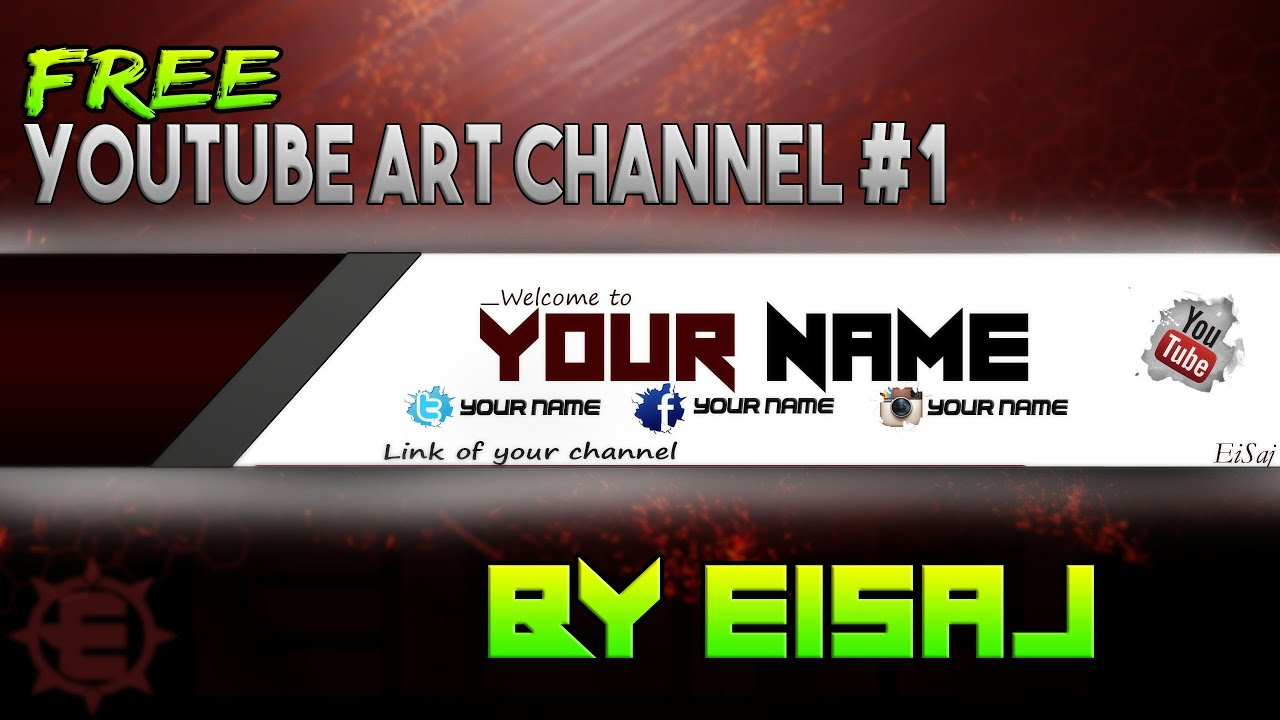 Youtube Channel Art Free Photoshop Cccs6 Banner Template By Eisaj