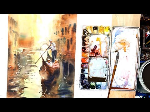 Venice | Boats | Watercolor Painting | Reflections | Fornt Light | artist Achintya Hazra