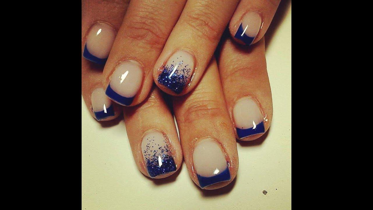 Nails tutorial: french blue e glitter | ERICA NAILS - YouTube