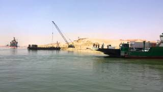 New Suez Canal 6 Ramadan drilling and dredging and ferry crossing June 23, 2015