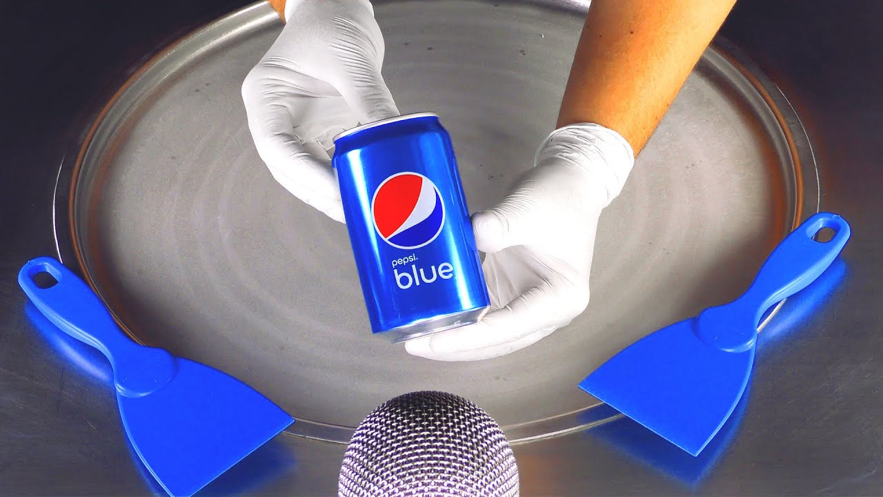 ASMR - blue Pepsi Cola Ice Cream Rolls | crushing crackling tapping and scratching Sounds - Tingles