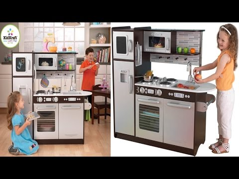 kidkraft uptown espresso kitchen for children - kids kitchen with