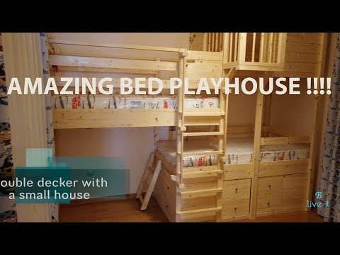 Amazing dream bed playhouse - Wooden construction - DIY - Secret tunnel and more