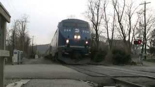 Amtrak and Metro-North at Manitou, Peak Trains, inbounds and the Ethan Allen Express.