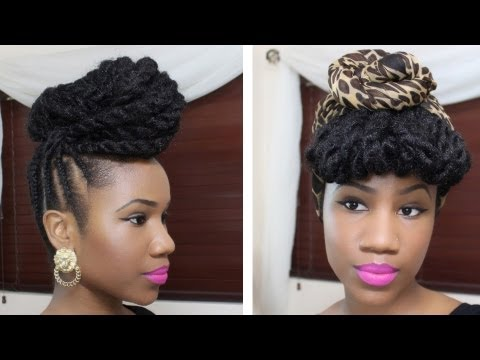 Braided Updo Hairstyle on Natural Hair - YouTube