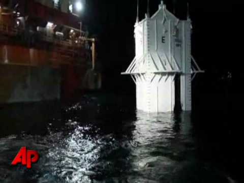 Exclusive Raw Video: Oil Containment Box Lowered