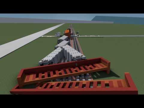 Minecraft Freight Train Crash Collision Derailment Animation