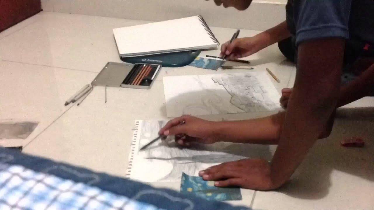 Dibujo Noche Estrellada - YouTube