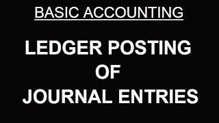 BASIC ACCOUNTING   LEDGER POSTING OF JOURNAL ENTRIES [HINDI]