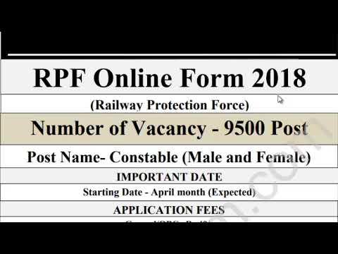 Railway Protection Force/RPF Online Form 2018/RPF Vacancy 2018/Notification RPF 2018/9500 job 2018