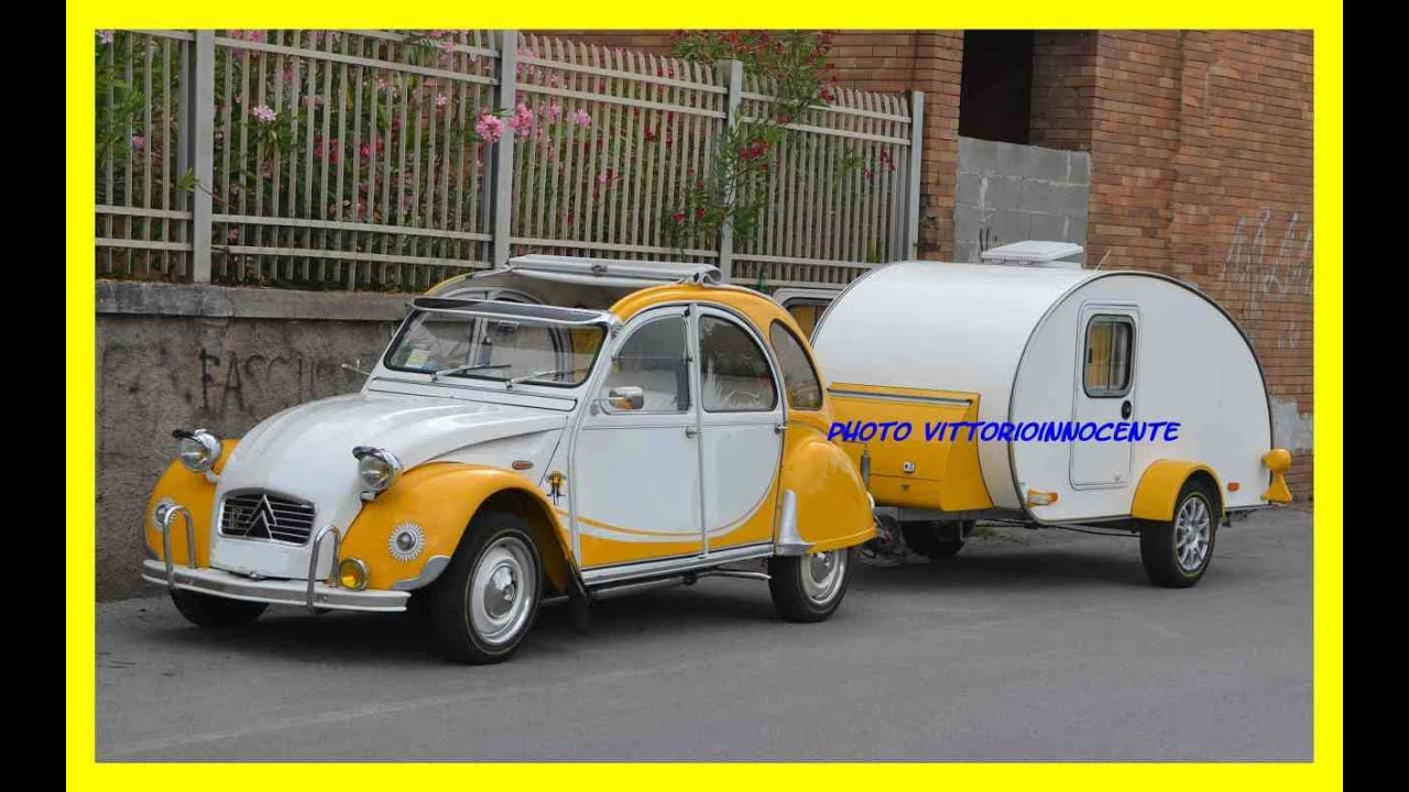 citroen 2cv con roulotte youtube. Black Bedroom Furniture Sets. Home Design Ideas
