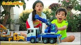 Pretend Play Fishing with Bruder Crane Trucks Outside