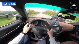 POV MASERATI GHIBLI DIESEL ACCELERATION & TOP SPEED AUTOBAHN TEST DRIVE SOUND 275 HP 3.0 V6 TURBO