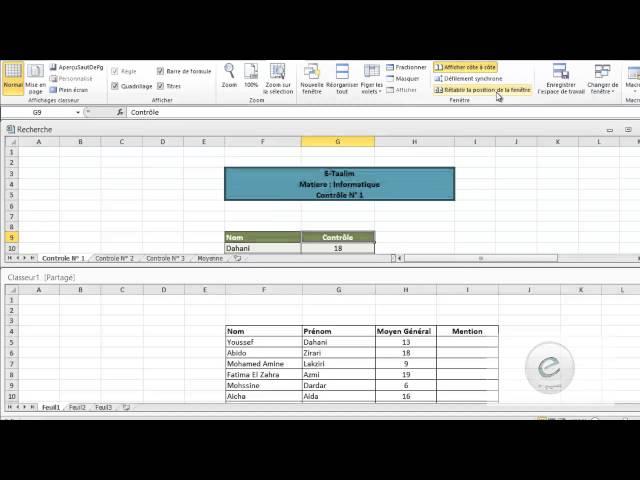 37 MS Excel : Onglet Affichage : Fenetre