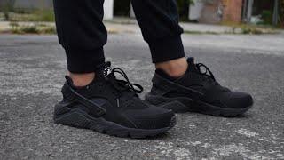 Nike air HUARACHE triple black unboxing + on feet Español