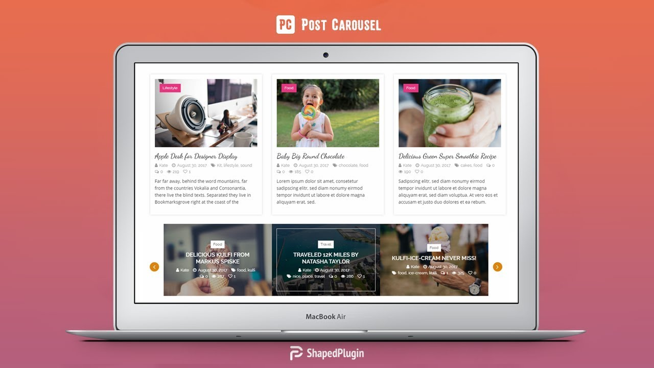 Post Carousel – Post Grid, Filter & Masonry for WordPress