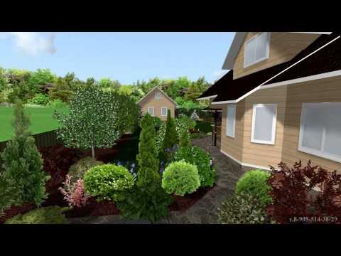 видео: Ландшафтный дизайн участка 8 сот.