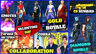 CS REWARD | ALL NEW EMOTES DIAMOND ROYALE | GOLD ROYALE | VALENTINE | NEW COLLAB - GARENA FREE FIRE